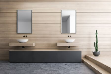 Interior of modern bathroom with wooden walls, concrete and wooden floor, double sink with mirrors above it and gray cabinets. 3d rendering