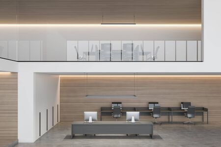 Interior of modern two storey office with white and wooden walls, concrete floor, open space area with long gray table and smaller computer desks and big table on second floor. 3d rendering