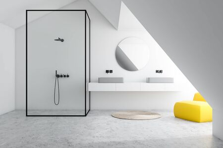Interior of stylish bathroom with white walls, concrete floor, double sink standing on white shelf with round mirror, vertical shower and yellow armchair. 3d rendering Фото со стока