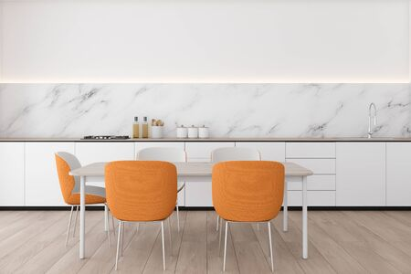 Interior of modern kitchen with white and marble walls, wooden floor, white countertops with built in sink and wooden dining table with orange chairs. 3d rendering Фото со стока