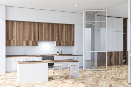 Interior of modern kitchen with white walls, wooden floor, white countertops, wooden cupboards and white bar with stools. Big glass doors. 3d rendering