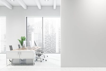 Side view of modern open space office with white walls, tiled floor, windows with cityscape, wooden computer desks with black chairs and mock up wall. 3d rendering