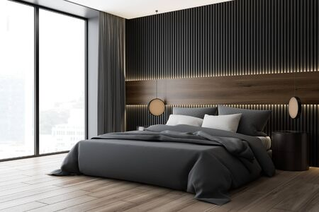Corner of modern bedroom with dark wood and gray walls, wooden floor, king size bed with two round bedside tables and panoramic window. 3d rendering