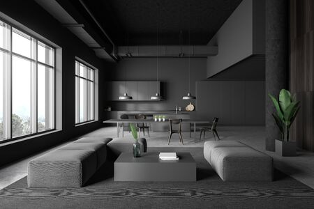Interior of modern kitchen and living room with gray walls, concrete floor, grey countertops, bar with stools, dining table and gray sofas near coffee table. 3d rendering 写真素材