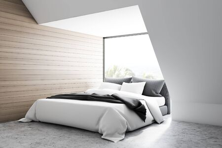 Corner of modern bedroom with white and wooden walls, concrete floor and comfortable king size bed standing near the window. 3d rendering