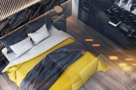 Top view of stylish bedroom with white and wooden walls, wooden floor, king size bed with yellow blanket and wardrobe. 3d rendering toned image double exposure