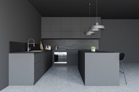 Side view of stylish kitchen with grey walls, concrete floor, gray countertops with built in sink and oven and dark gray bar with stools. 3d rendering