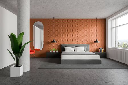 Interior of stylish bedroom with orange geometric pattern and white walls, concrete floor, king size bed with gray bedside tables and bright orange armchair near mirror. 3d rendering