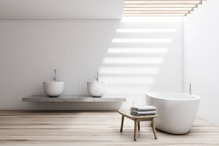 Interior of spacious bathroom with white walls, wooden floor, comfortable white bathtub and double sink standing on stone shelf. 3d rendering