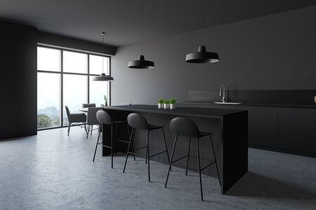Corner of modern kitchen with gray walls, concrete floor, grey countertops and cupboards, bar with stools and round dining table with gray chairs. 3d rendering