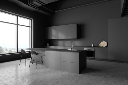 Corner of stylish kitchen with gray walls, concrete floor, grey countertops and cupboards and bar with stools. 3d rendering 写真素材