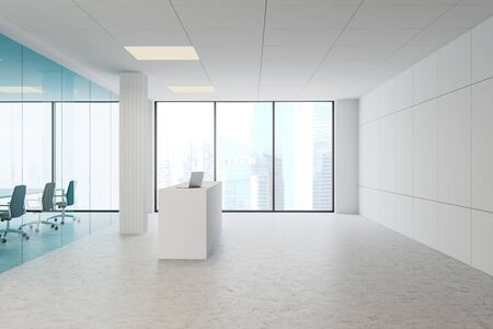Side view of modern office hall with white and blue glass walls, concrete floor, white reception counter with laptop and meeting room with long table and black chairs. 3d rendering 스톡 콘텐츠