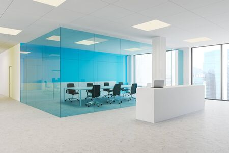 Corner of modern office with blue glass and white walls, concrete floor, white reception desk with laptop and conference room with long table and black chairs. 3d rendering