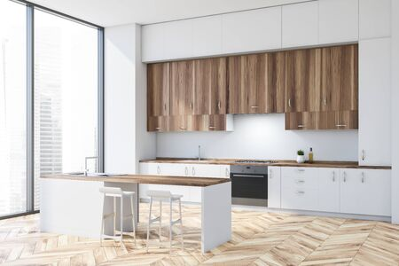 Corner of modern kitchen with white walls, wooden floor, white countertops, wooden cupboards and white bar with stools. 3d rendering Фото со стока
