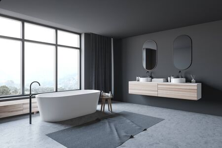 Corner of stylish bathroom with gray walls, concrete floor, double sink standing on wooden countertop and comfortable bathtub. 3d rendering