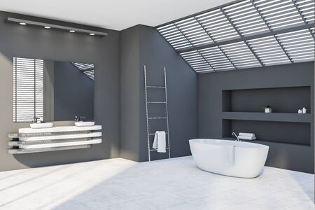 Corner of attic bathroom with gray walls, tiled floor, comfortable bathtub, double sink standing on stylish countertop and large mirror. 3d rendering Zdjęcie Seryjne - 129260104