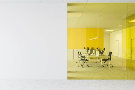 Interior of open space office with white and yellow glass walls, concrete floor, long computer tables with black chairs and mock up wall. 3d rendering