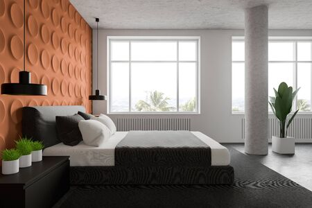 Side view of stylish bedroom with white and orange geometric pattern walls, concrete floor, big windows, king size bed and bedside table with plants. 3d rendering