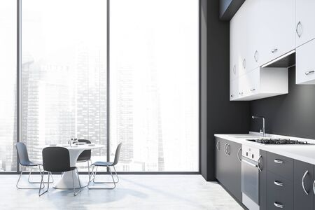Interior of modern kitchen with dark gray walls, concrete floor, gray countertops, white cupboards and round dining table with chairs. 3d rendering Фото со стока