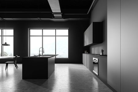 Side view of modern kitchen with gray walls, concrete floor, grey countertops with built in cooker and oven and bar with stools. 3d rendering