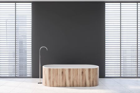 Interior of modern bathroom with gray walls, tiled floor, comfortable wooden bathtub and windows with blinds. 3d rendering
