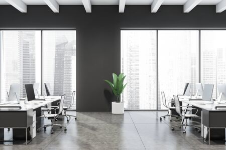 Side view of modern open space office with gray walls, tiled floor, windows with cityscape and rows of white computer desks with chairs. 3d rendering