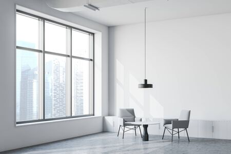 Corner of stylish industrial style office waiting room with white walls, concrete floor, gray armchairs near round coffee table and small cabinets with ceiling lamp above them. 3d rendering