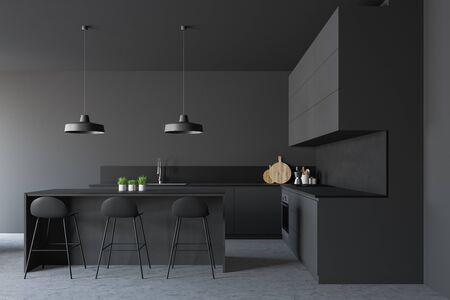 Interieur der stilvollen Küche mit grauen Wänden, Betonboden, grauen Arbeitsplatten mit eingebauter Spüle und Backofen und dunkelgrauer Bar mit Hockern. 3D-Rendering Standard-Bild