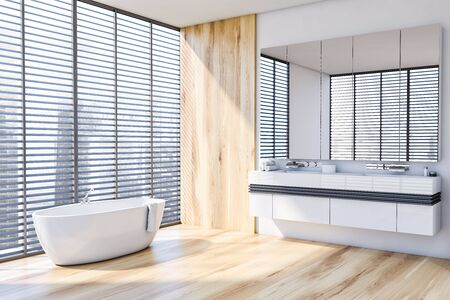 Corner of stylish bathroom with white and wooden walls, wooden floor, comfortable bathtub standing near window with blinds and double sink with large mirror. 3d rendering