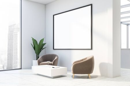 Interior of office waiting room with white walls, tiled floor, beige armchairs standing near white coffee table and horizontal mock up poster frame. 3d rendering