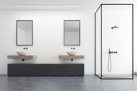 Interior of modern bathroom with white walls, concrete floor, double sink with mirrors, gray cabinet and shower with glass walls. 3d rendering