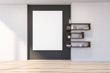 Interior of empty living room with white brick and gray walls, wooden floor, bookshelves and vertical mock up poster on the wall. 3d rendering