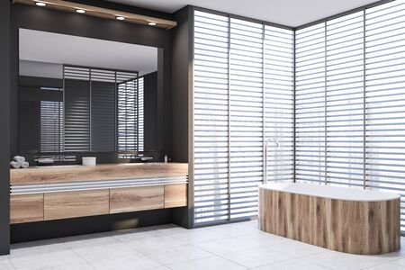 Corner of stylish bathroom with gray walls, tiled floor, comfortable wooden bathtub and double sink on wooden countertop with large mirror above it. 3d rendering