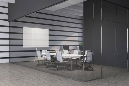 Interior of modern meeting room with white, gray and glass walls, tiled floor, white table with chairs and mock up projection screen. 3d rendering