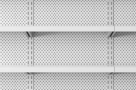 Close up of empty white metal supermarket shelves. Concept of trade and business. 3d rendering Stock Photo