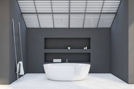 Interior of attic bathroom with gray walls, tiled floor, comfortable bathtub, two niches and metal ladder with towel on it. 3d rendering Stok Fotoğraf