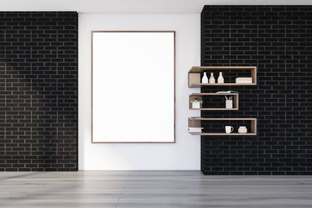 Interior of empty living room with black brick and white walls, wooden floor, bookshelves and vertical mock up poster on the wall. 3d rendering