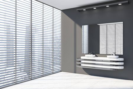 Corner of modern bathroom with gray walls, tiled floor, window with blinds and comfortable double sink standing on white and gray countertop with large mirror. 3d rendering