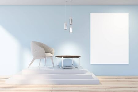 Interior of living room with blue walls, wooden floor, white armchair standing on stairs near round coffee table and vertical mock up poster. 3d rendering
