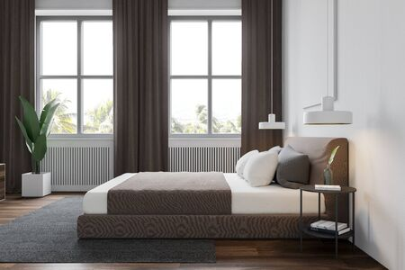 Side view of modern bedroom with white walls, wooden floor with carpet, windows with curtains and comfortable king size bed. 3d rendering