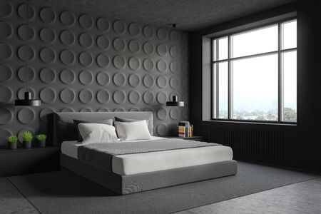 Corner of stylish bedroom with gray geometric pattern walls, concrete floor with carpet, king size bed and two gray bedside tables. 3d rendering