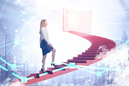 Young woman in suit climbing staircase in sky leading to large book. Cityscape below her. Planet hologram. Concept of knowledge and education. Toned image double exposure