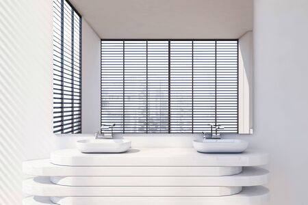 Close up of double bathroom sink standing on stylish white countertop with large mirror above it in room with white walls. 3d rendering
