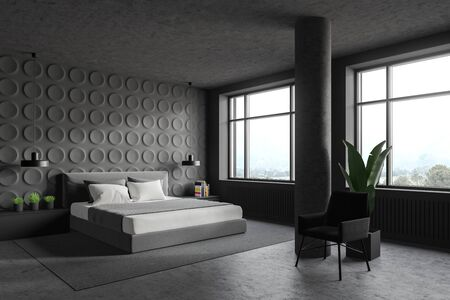 Corner of stylish bedroom with gray geometric pattern walls, concrete floor, king size bed with gray bedside tables and dark grey armchair near column. 3d rendering