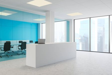 Corner of modern office with blue glass and white walls, concrete floor, white reception desk with laptop and meeting room with long table and black chairs. 3d rendering Stok Fotoğraf