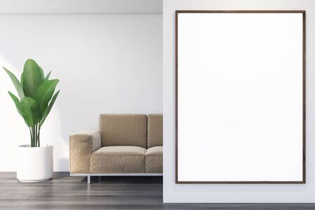 Interior of modern living room with white walls, dark wooden floor, beige comfortable sofa and vertical mock up poster. 3d rendering Stock Photo