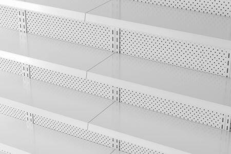 Seitenansicht der leeren Supermarktregale aus weißem Metall. Konzept von Handel und Geschäft. 3D-Rendering Standard-Bild