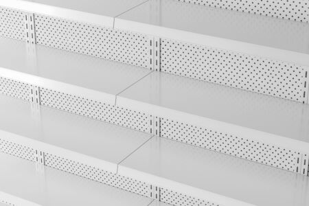 Side view of empty white metal supermarket shelves. Concept of trade and business. 3d rendering