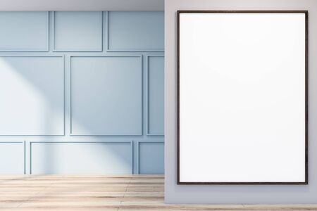 Interior of empty room with blue and gray walls, wooden floor and vertical mock up poster frame. Concept of advertising. 3d rendering Stock Photo
