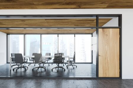 Interior of office lobby with white and glass walls and stylish meeting room with long white conference table and gray chairs. 3d rendering Reklamní fotografie